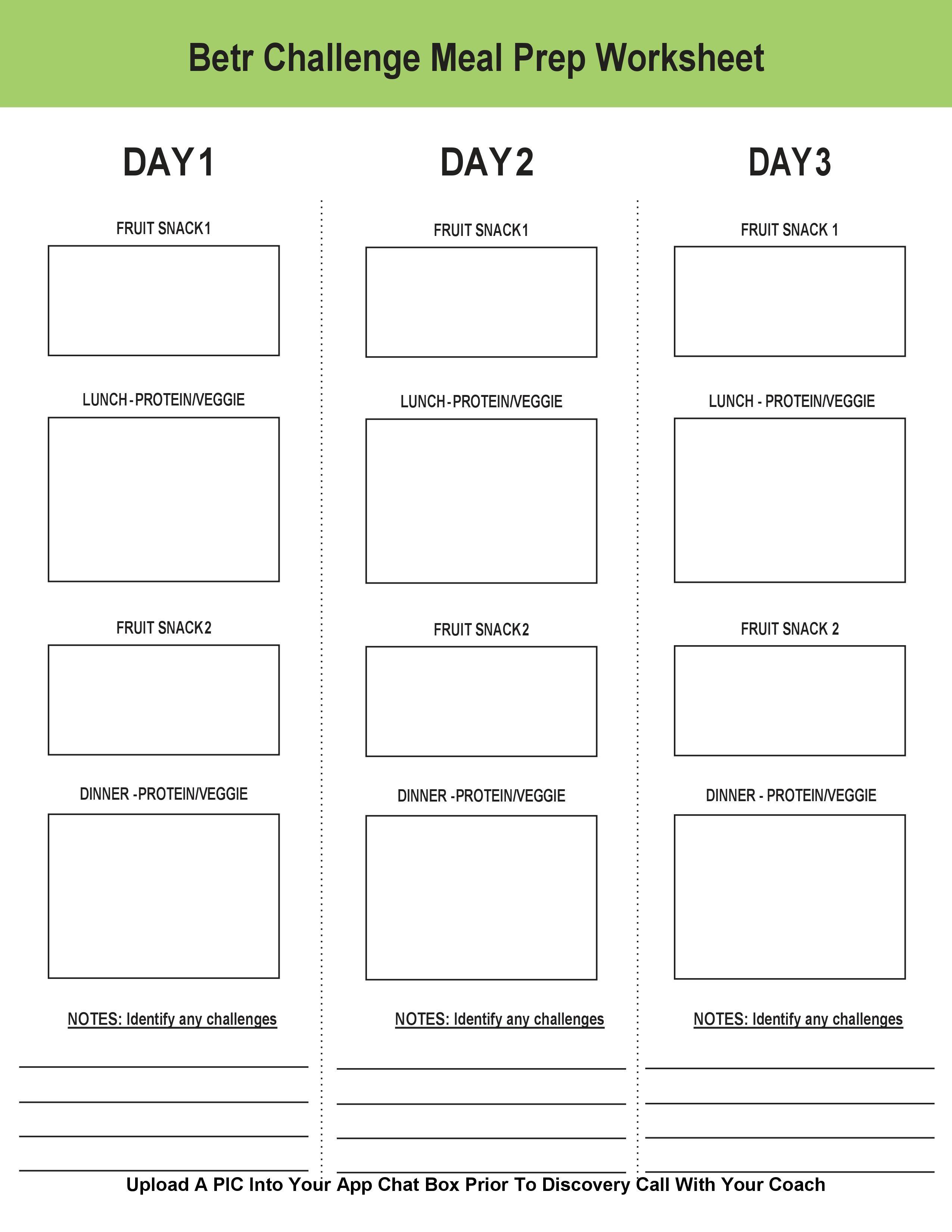 Meal Prep Planning Worksheet