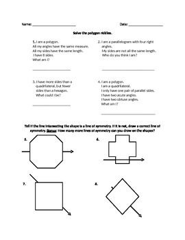 Polygon Riddles and Lines of Symmetry | Education | Riddles