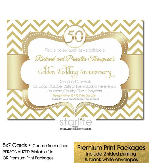 50th Anniversary Invitation Gold Wedding Anniversary by starwedd - anniversary printable cards