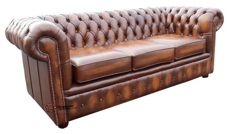 Brand New Chesterfield 3 Seater Sofa Settee Couch Antique Tan Real