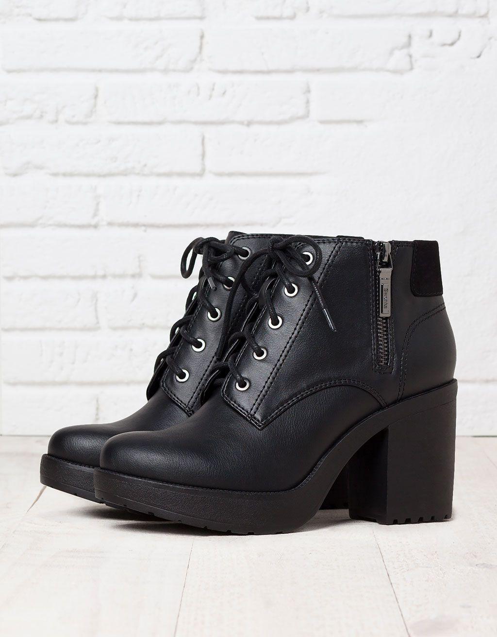 BSK lace-up heeled ankle boots - Boots & Ankle boots - Bershka United  Kingdom