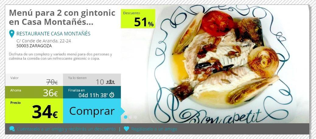 SUPERPROMOCIÓN, ¿te lo vas a perder? Hazte con el cupón en el siguiente enlace http://oferplan.heraldo.es/plan-oferta/aragon/menu-para-2-con-gintonic-en-casa-montanes/367/live_look