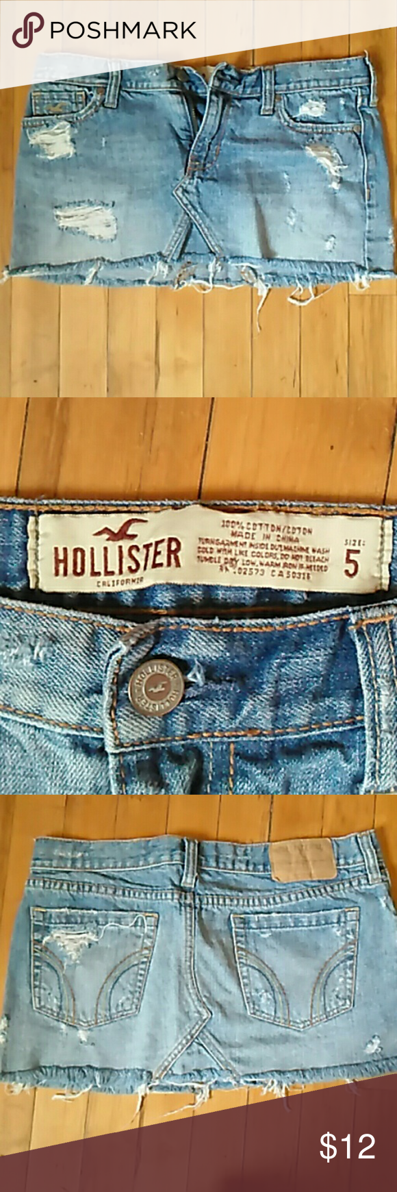 Hollister super mini Medium blue. Beige, yellow and blue stitching on back pockets Hollister Skirts Mini