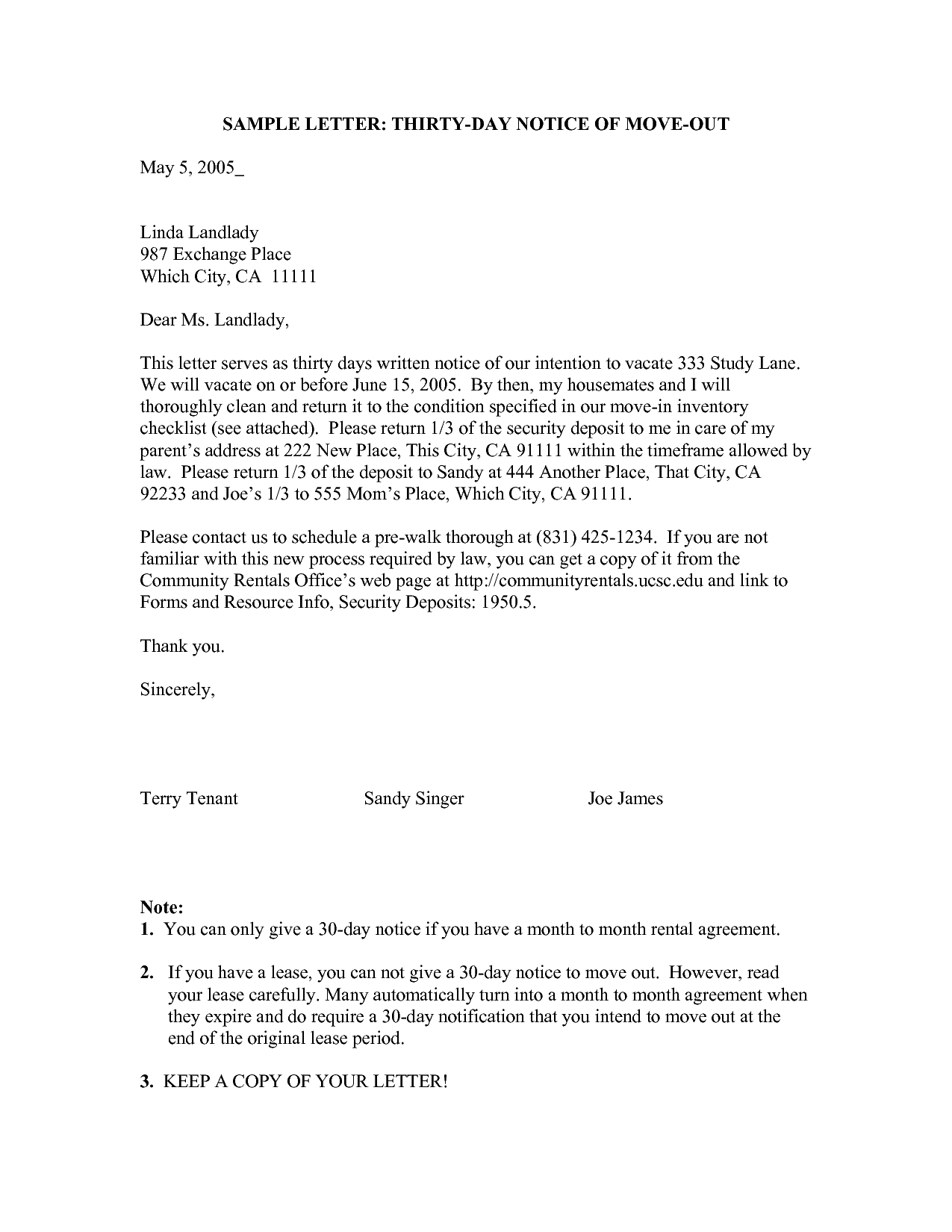 30 day moving notice letters