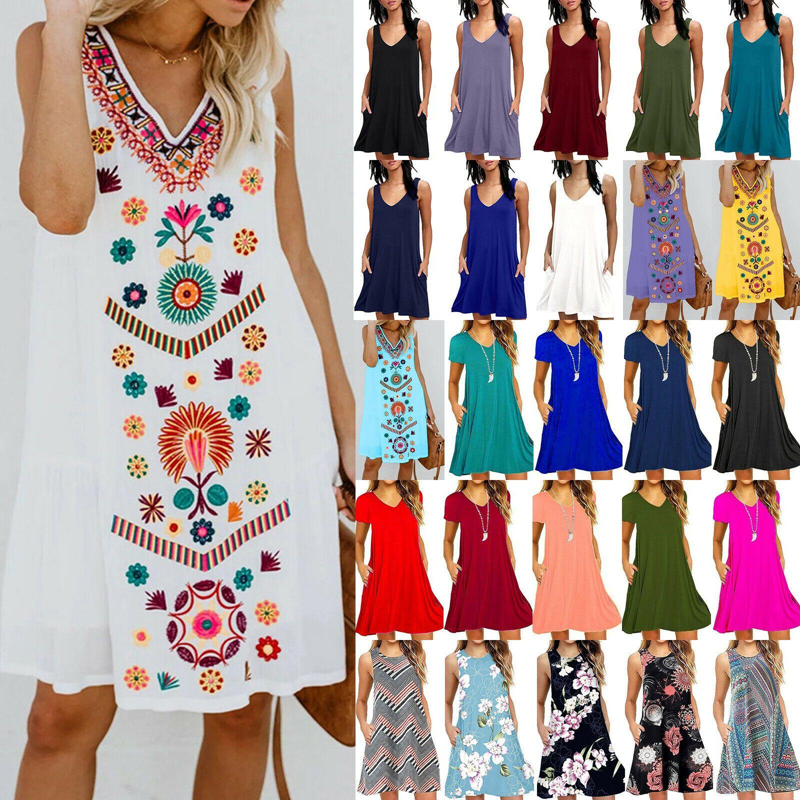 Damen Blumen Kleid Blusekleid Shirtkleid Tunikakleid Longbluse Sommerkleid 34-48