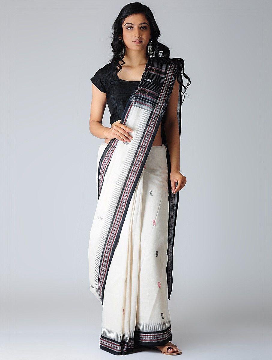 0dd1e2ef14 Buy Ivory Black Pink Sambalpuri Ikat Cotton Saree with Woven Border Sarees  Online at Jaypore.com