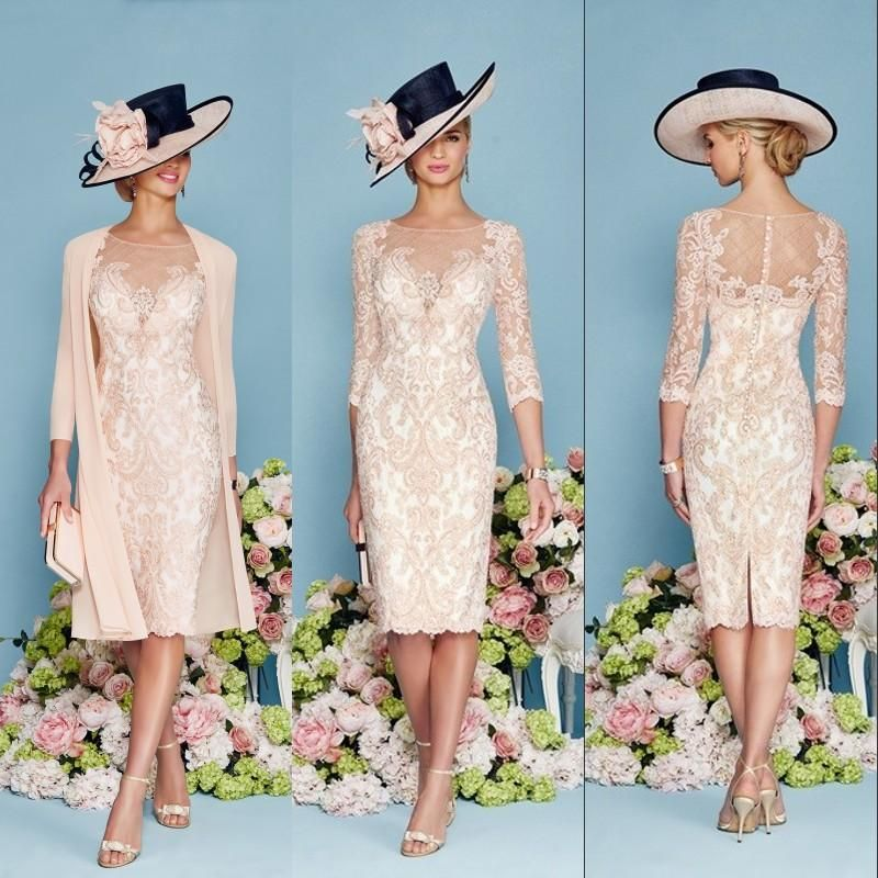 Two pieces mother of the bride dresses lace sheath knee for Wedding dresses for grandmother of the bride