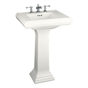 "Kohler Memoirs Pedestal Bathroom Sink with 4"" or 8"" Centers and Overflow"