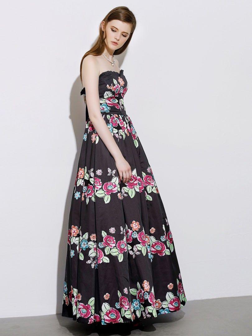 Blackrufflebandeaufloral printtie backempiremaxi dress