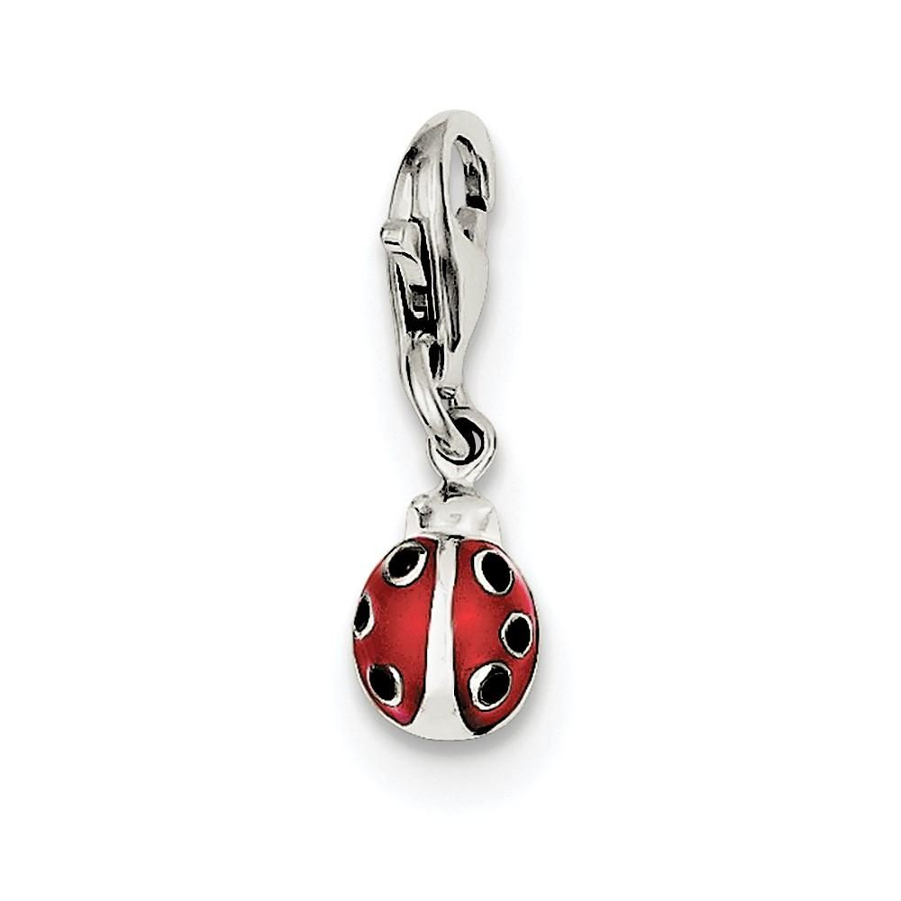 925 Sterling Silver Enameled Ladybug Charm and Pendant