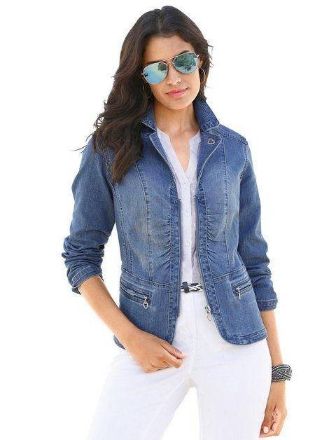 Damen Jeansjacke Mode Kurz Dünn Denim Mäntel Trend Blau Online
