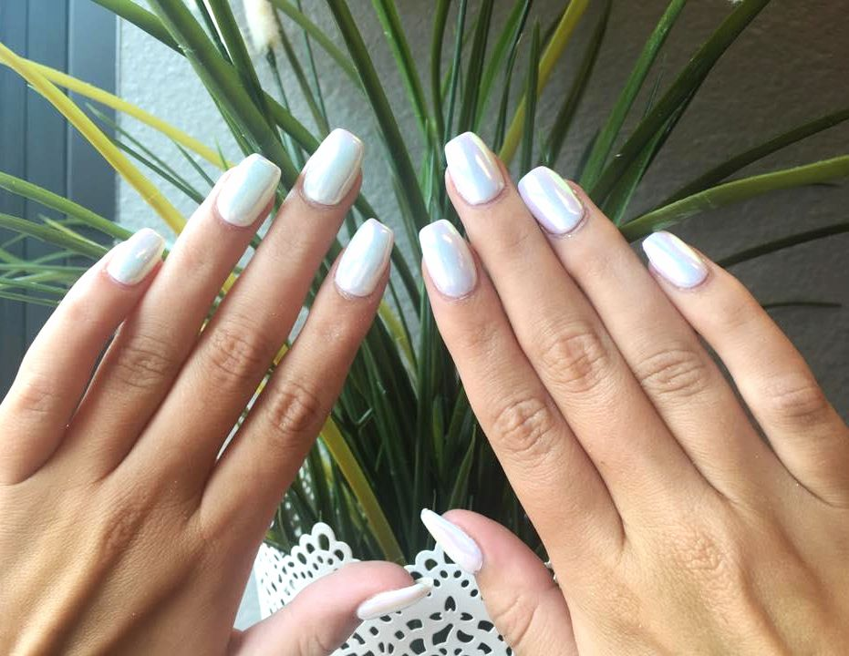 Acrylic Fill 35 Opal Chrome Nails Done With Gel And An Acrylic Overlay Pedicure Nail Art Manicure And Pedicure Manicure