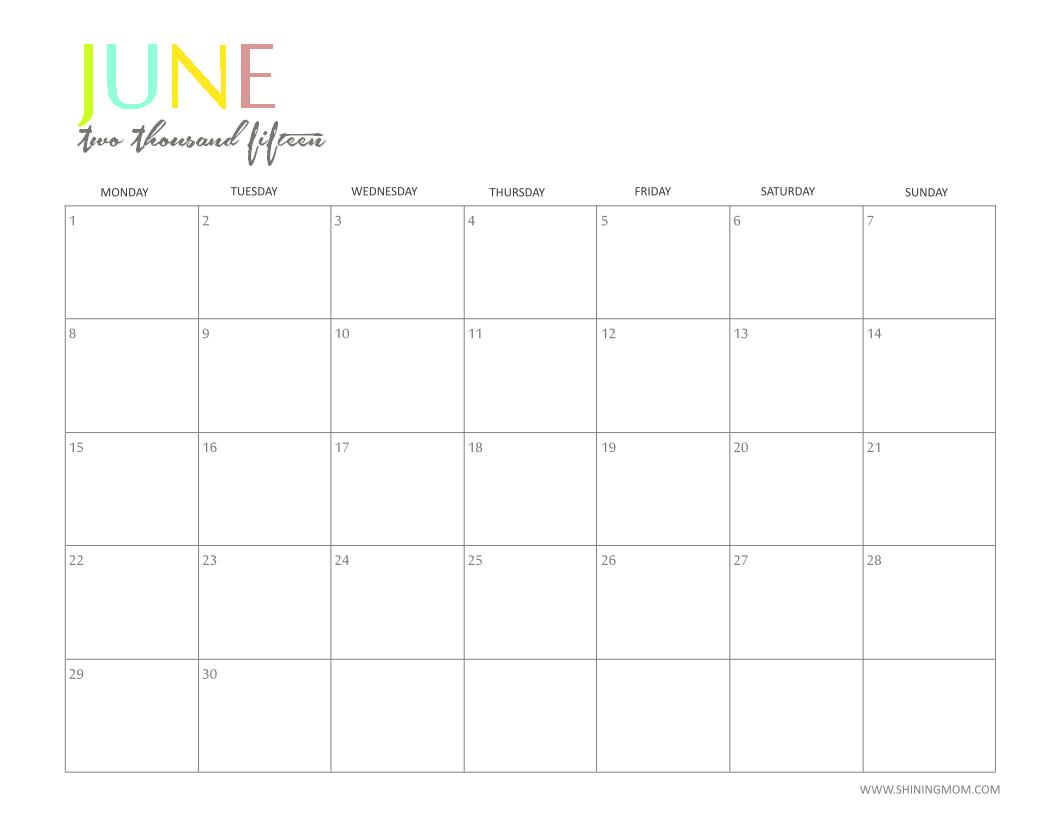 free 2015 printable calendar by shiningmom com  fun and colorful