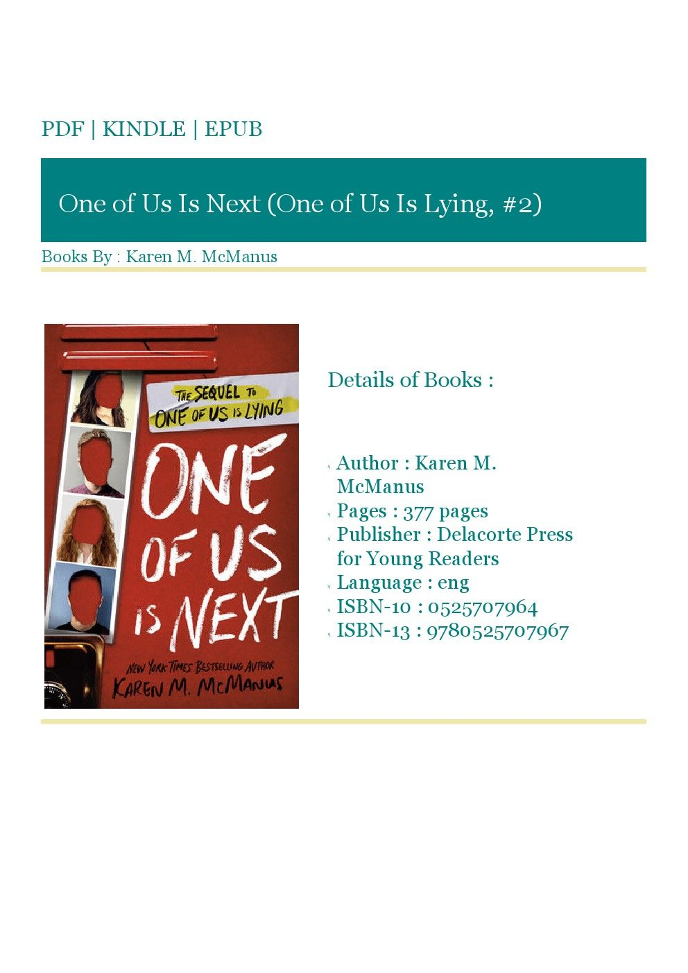 Get Ebook Full Online One Of Us Is Next One Of Us Is Lying 2 By Karen M Mcmanus Download Books Good Books Ebook
