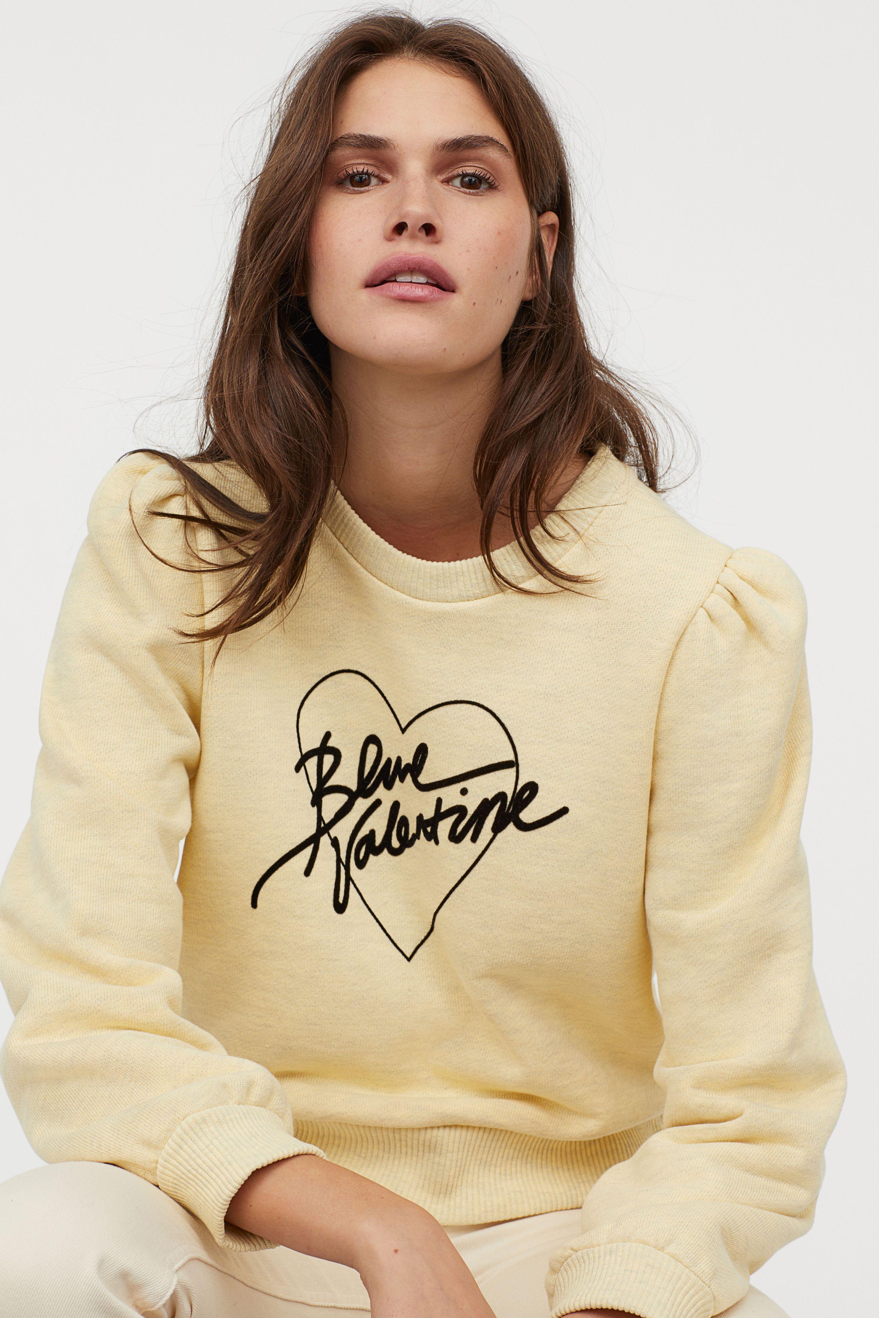 739fa21a737a Flock-print Sweatshirt - Yellow melange - Ladies