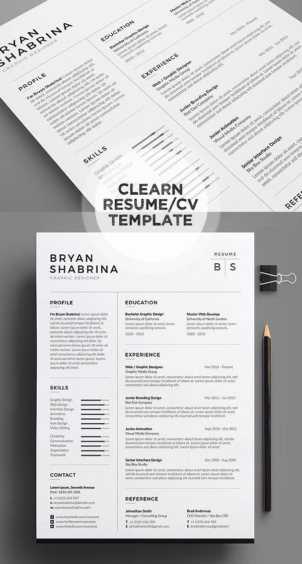 Black/White Resume/CV Template office Pinterest Resume cv, Cv