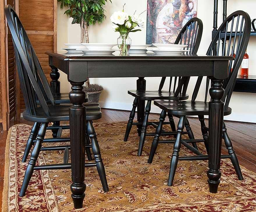 Dining Table & Windsor Chairs Set In Antique Black Finish