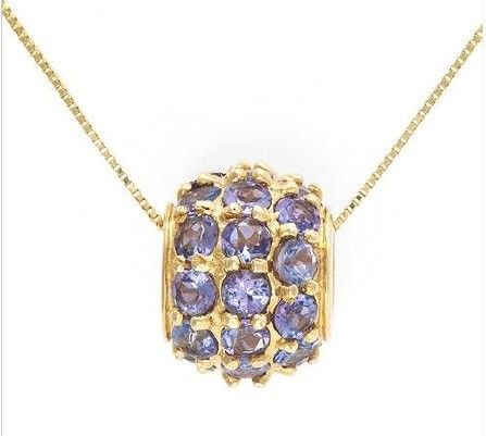BNWT Necklace with 2.88ctw Genuine Tanzanites crafted in Solid 10K YG RRP $519.