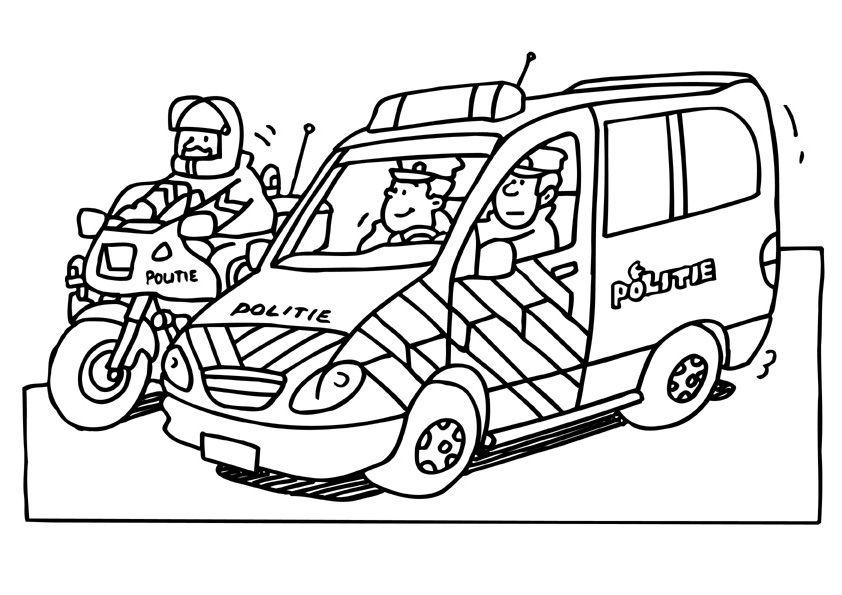 Kleurplaten Politiewagen.Politieauto En Motor Brandweer Politie Kleurplaten