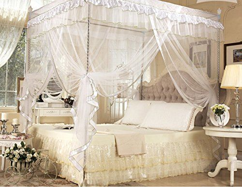 White Four Corner Square Princess Bed Canopy Mosquito Netting