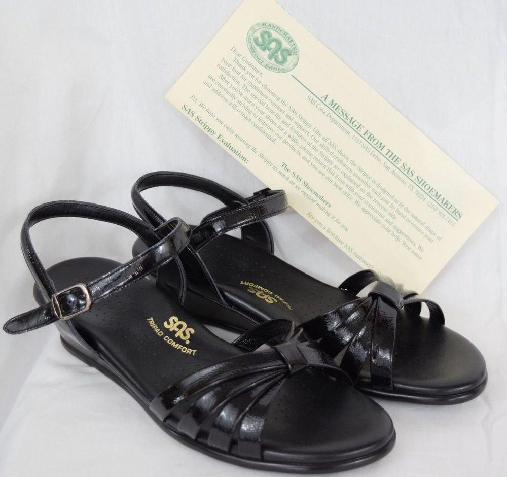 c3e347c806f7 SAS  WomensShoes  Sandals Black Patent Tripad Comfort Shoes 8.5 W  Strippy   Dressy  SAS  AnkleStrap  AmericanMade  91 2Womensshoes InMens