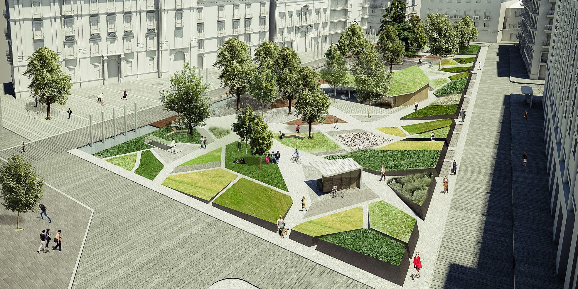Riqualificazione aree e spazi pubblici di piazza libert for Architettura giardini