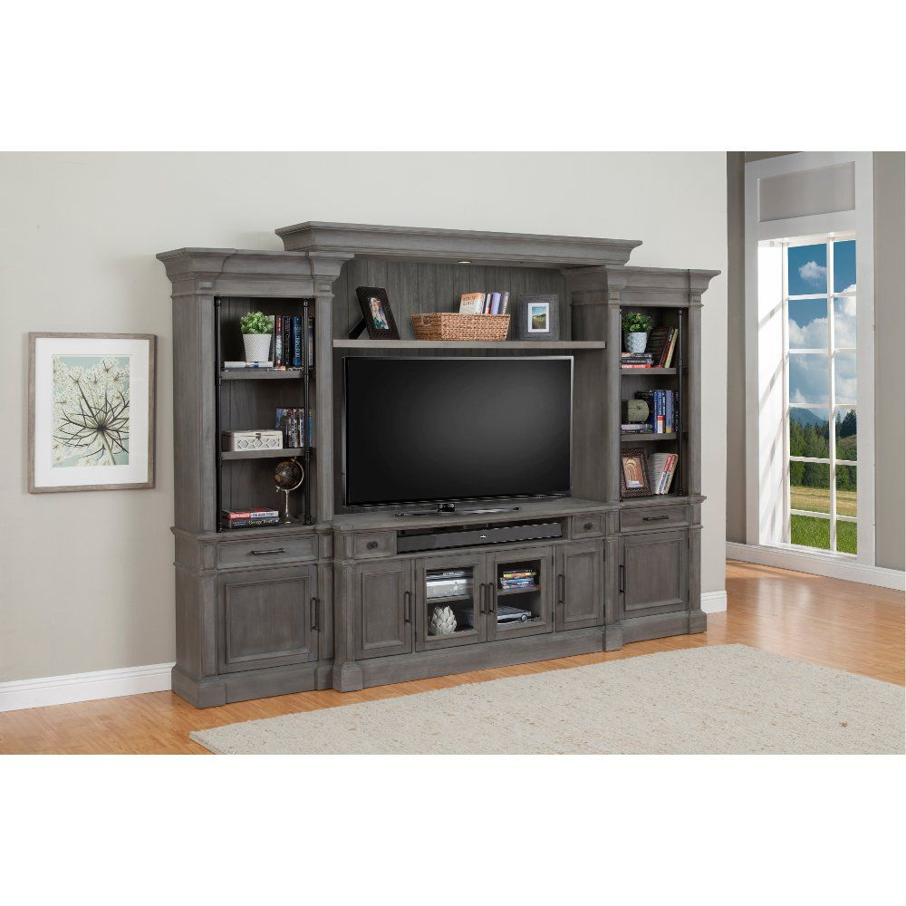 Smoke Gray 4 Piece Vintage Entertainment Center Gramercy Park Grey Entertainment Center Entertainment Center Home