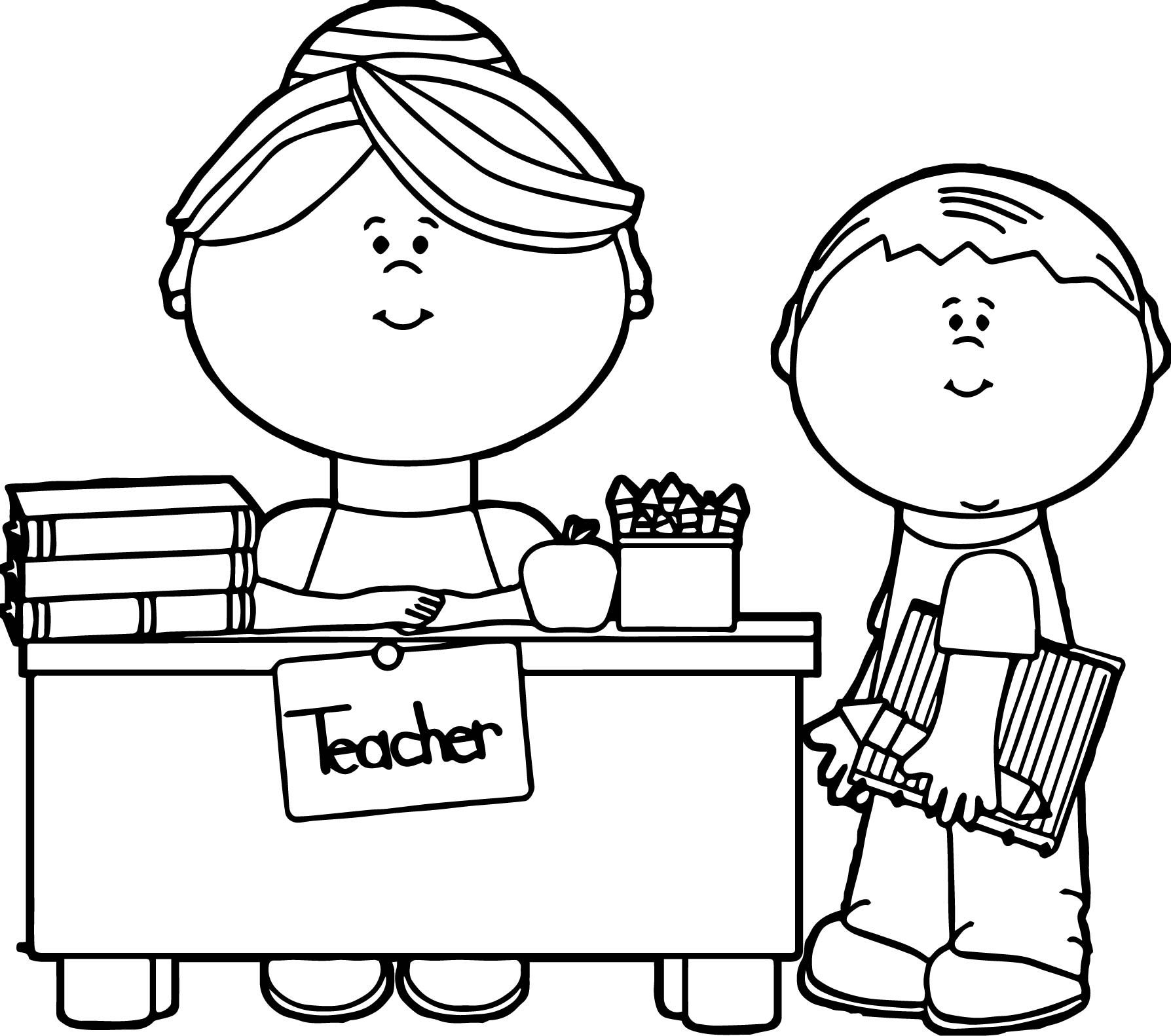 English Teacher And Student Coloring Page English Teacher