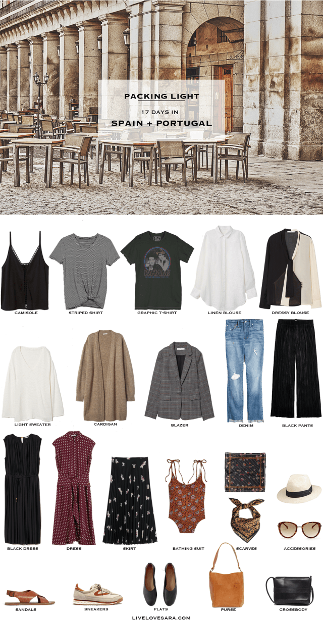 What to Pack for Spain and Portugal - Packing Light #travelwardrobesummer