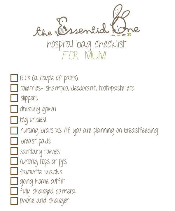 Hospital Bag Checklist For Mum    wwwtheessentialone - baby registry checklist