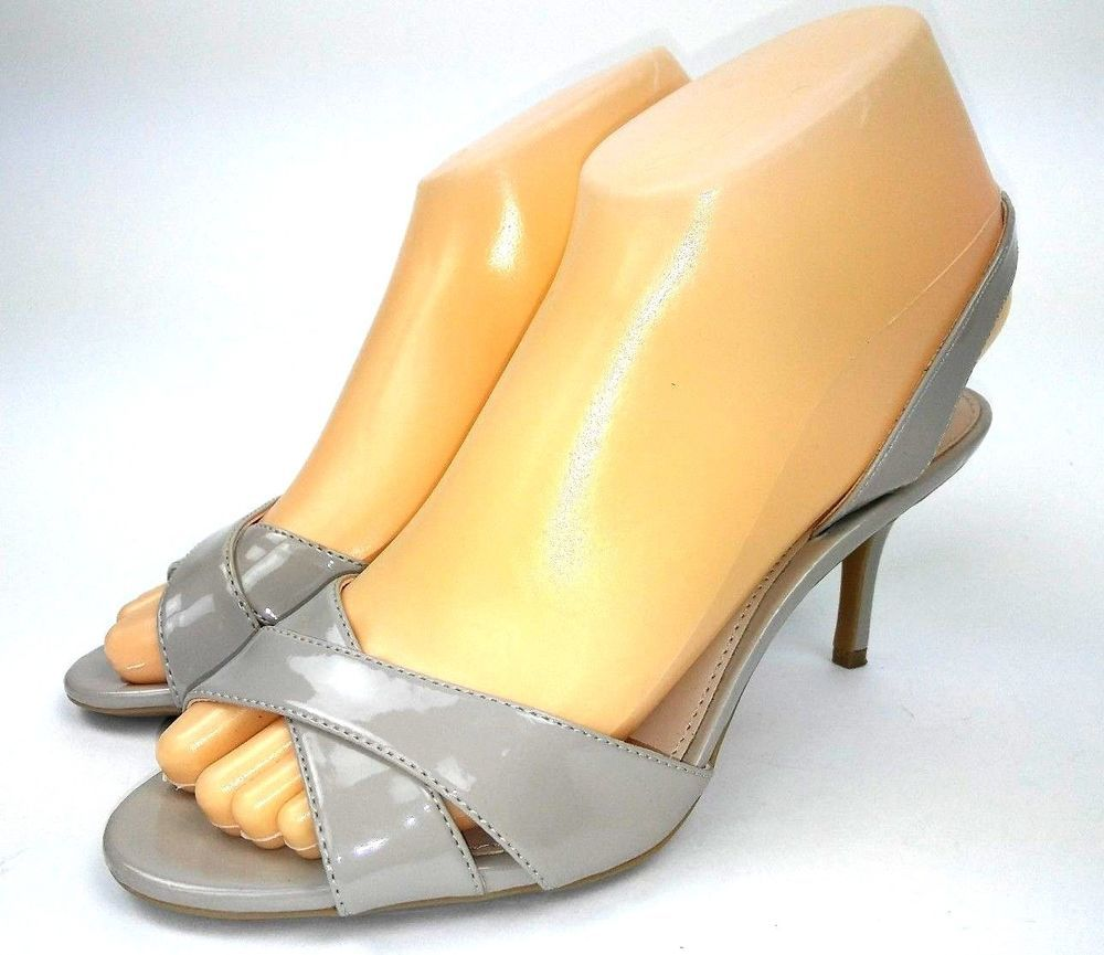 5760229f0c2 Calvin Klein Lucette Greige Heel Sandals Size 6.5 Cocoon Taupe Patent  Slingbacks  CalvinKlein  KittenHeels