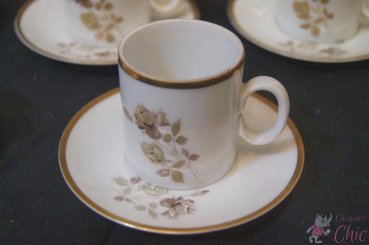 8 Xicaras De Cafe Porcelana Renner Flor Friso Ouro Cchic R 80 00 Xicaras De Cafe Porcelana Cafe