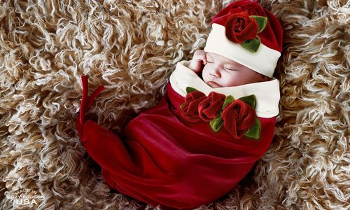 Santa Baby Cocoon & Hat Set-cozy cocoon, baby rose cocoon, santa, christmas, holidays, picture, photo session, trendy, baby boutique, girl, red, roses, infant, christmas pictures