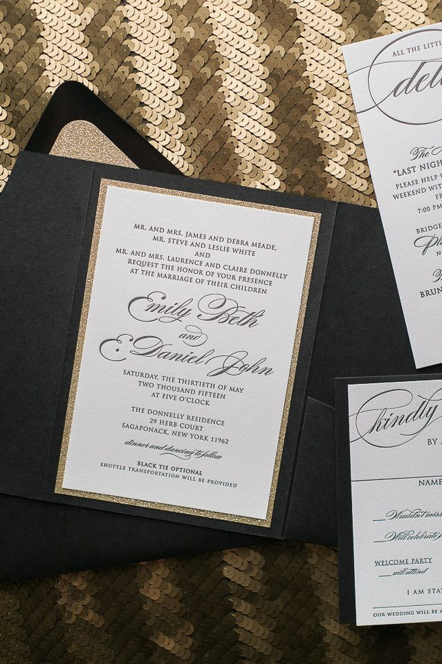 DIANE Suite Glitter Pocket Folder Package, Black And Gold, Black Tie Wedding  Invitations,