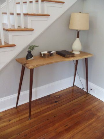 Oak Foyer Table with Live Edge and McCobb Legs - EPOCH  This elegant foyer table pairs a live edge oak slab top with vintage mid century modern wood legs.  #Edge #EPOCH #Foyer #Legs #Live #McCobb #Oak #Table