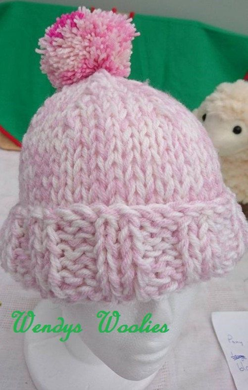 Ex large ladies hand knitted pink bobble hat. by ...