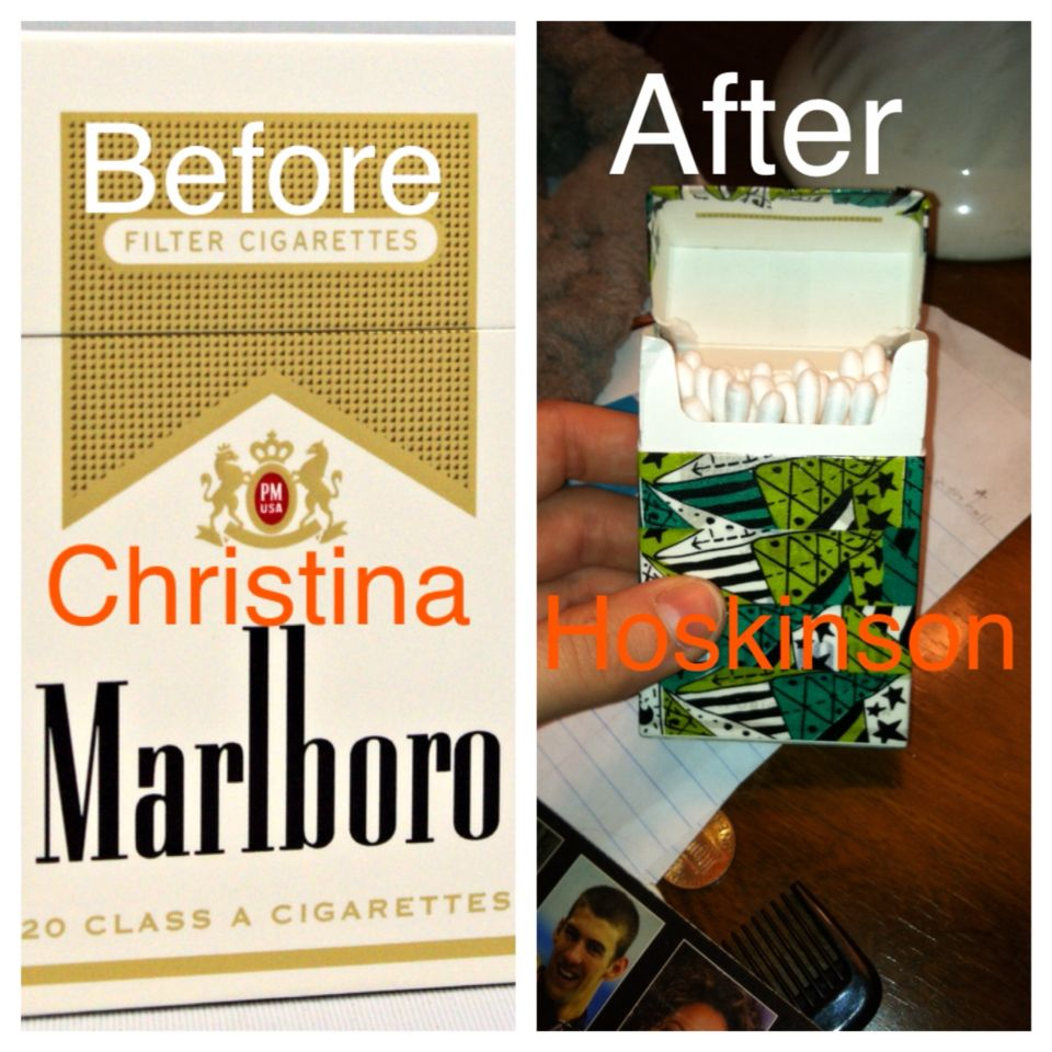 Washi an empty cigarette box and fill it with cotton swabs so the box doesn't go to waste! By Christina Hoskinson