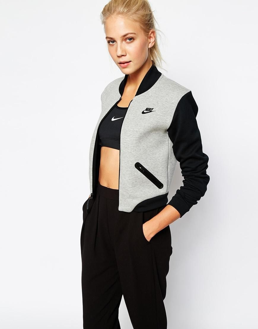 Nike Luxury Fleece Bomber Jacket At Asos Com Sporty Outfits Fashion Sport Outfits [ 1110 x 870 Pixel ]