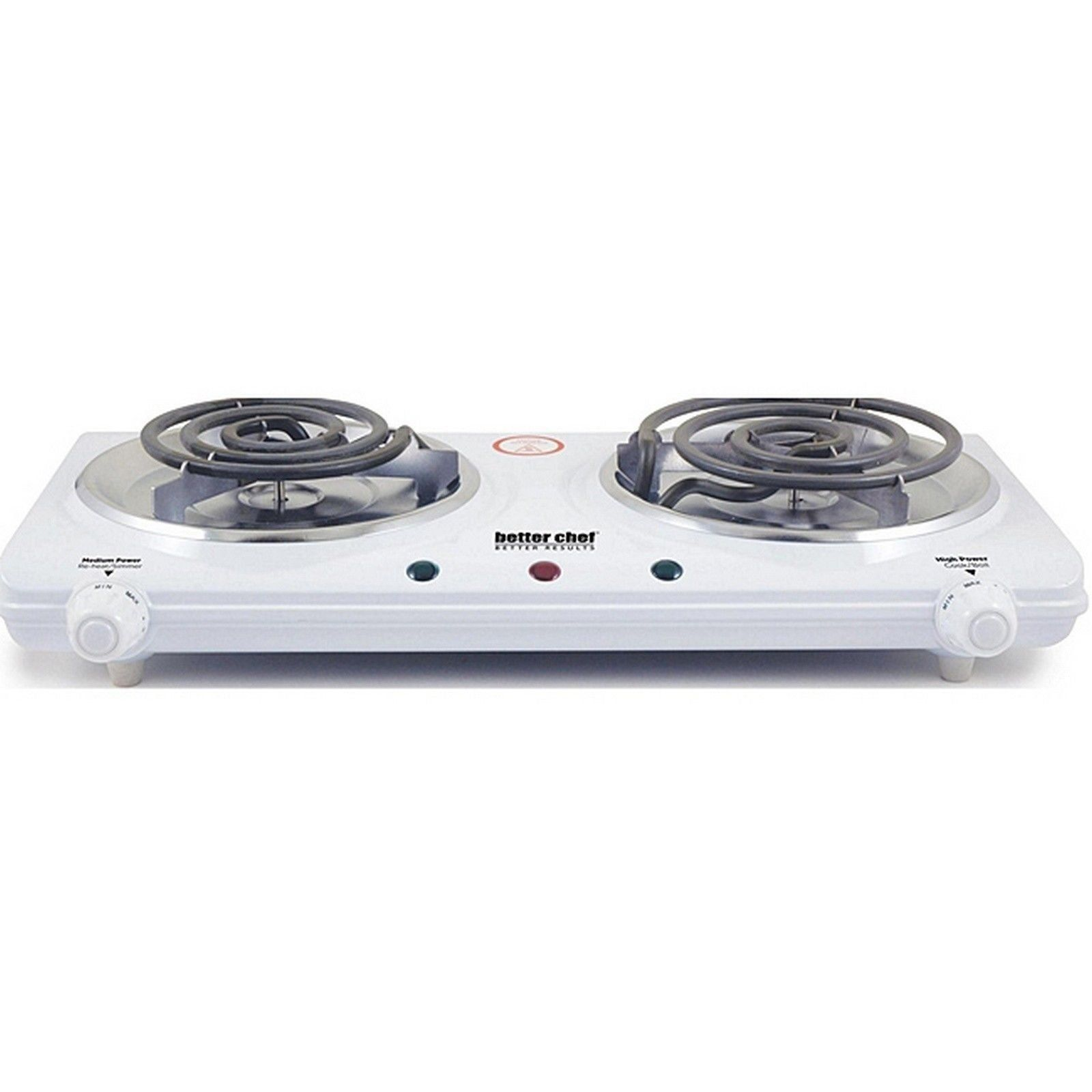 Portable Electric Dual Burner Electric Double Countertop Hot Plate White Imperial Home Countertop Hot Plate