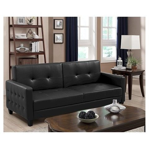 Rome Faux Leather Convertible Sofa Bed   Black