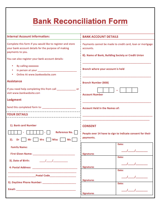 Printable bank reconciliation form http resumesdesign for Trust account reconciliation template