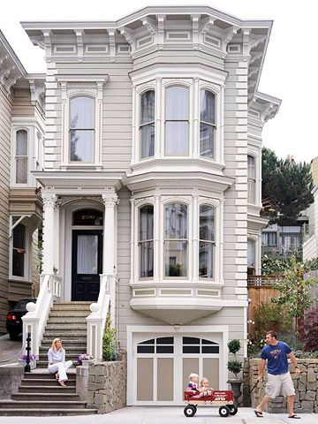 Architectural Elements Sculpted From Stucco Distinguish This Home As Italianate They Inclu Victorian House Colors Home Exterior Makeover Exterior House Colors