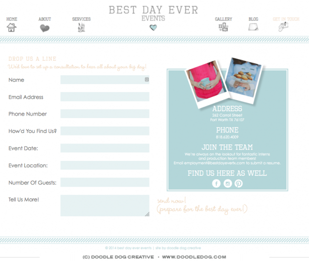 beautiful website planner #3: custom website design, custom web design, custom web elements, contact page  design,