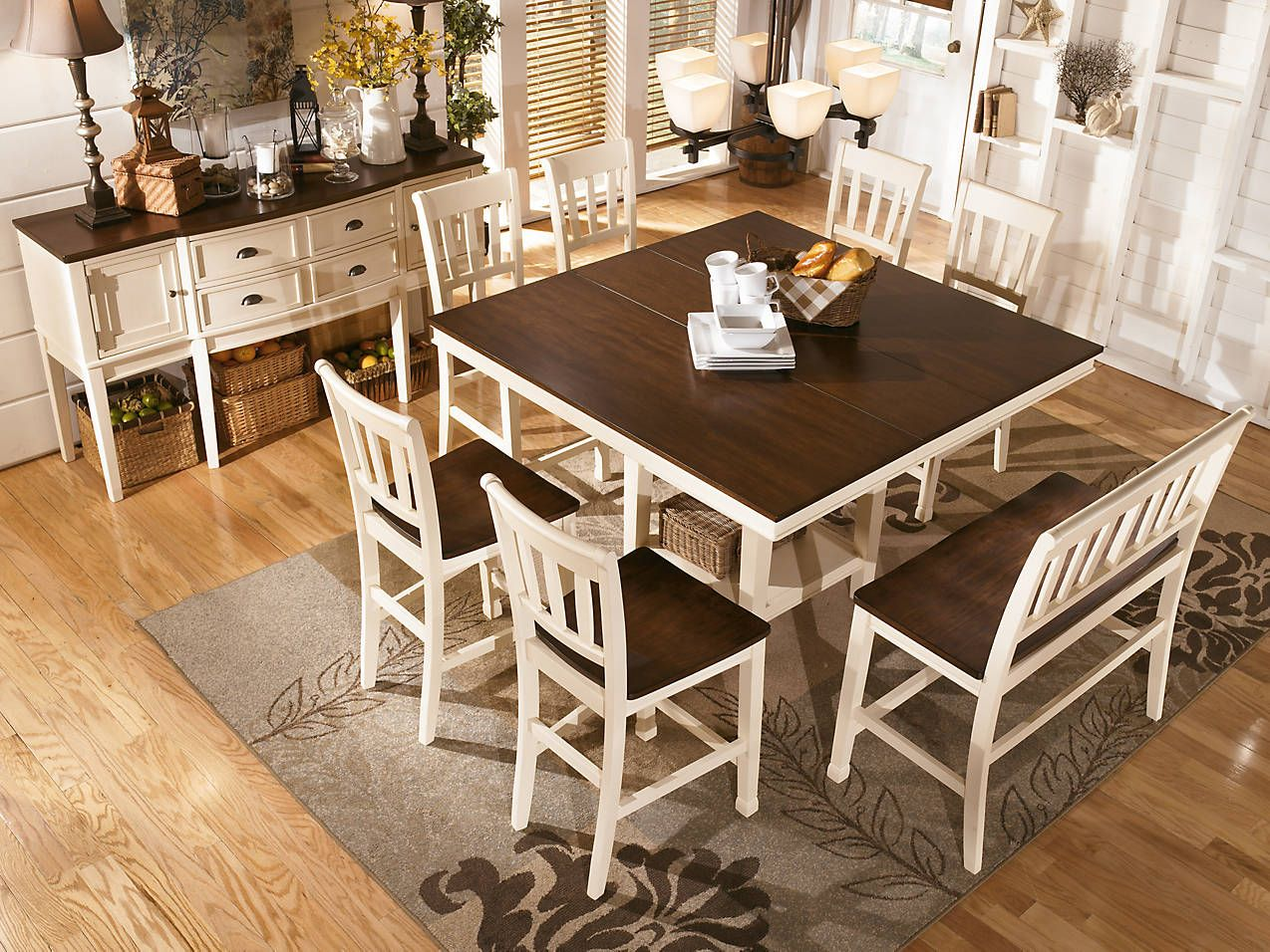 angled view of Whitesburg casual counter dining table set