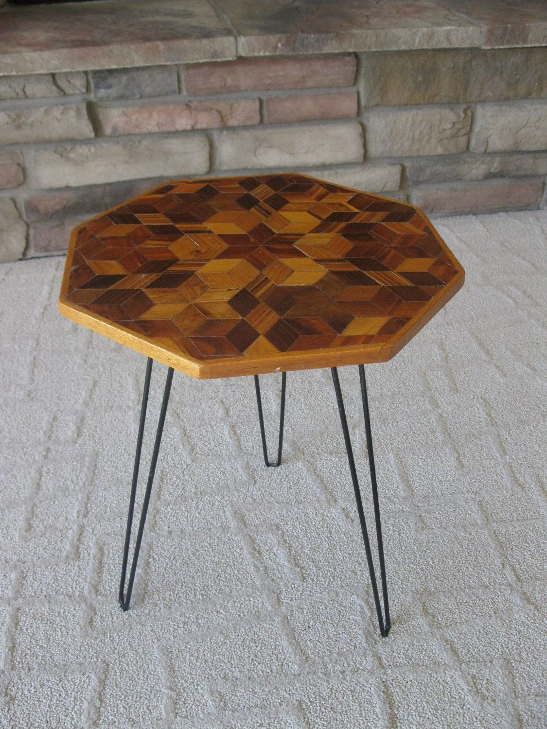 RETRO Wood Parquet side table handcrafted accent table