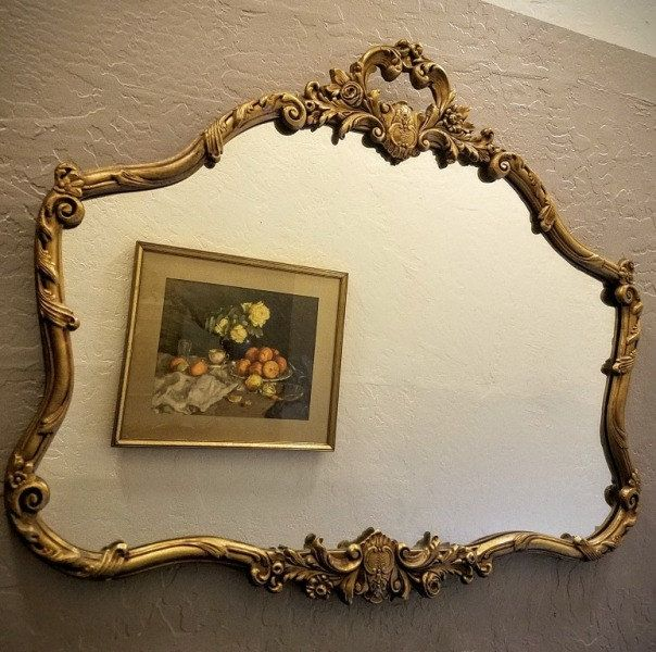 Large Vintage Mirror, Wood Carved Gold Gilt, European Design, Ornate ...