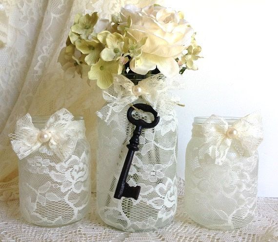mason jar wedding, bridal shower decor vintage style.. love the lace!!