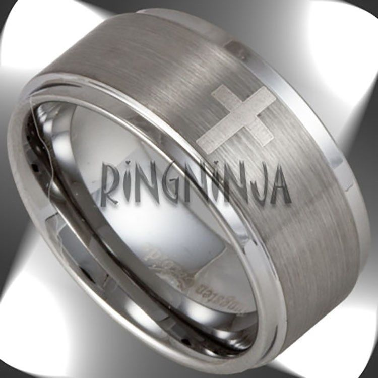 10mm Wide Mens Tungsten Ring W 4 Christian Crosses Wedding Bands Size 7 16 New Mens Wedding Bands Tungsten Tungsten Wedding Bands Tungsten Mens Rings