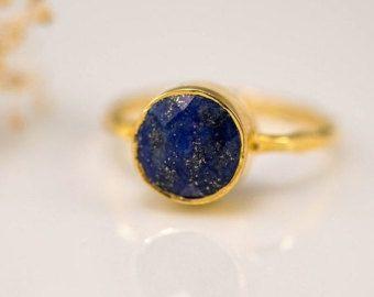 SALE - Navy Blue Lapis Ring - September Birthstone Ring - Lapis Lazuli Ring - Stacking Ring - Gold Ring - Round Ring