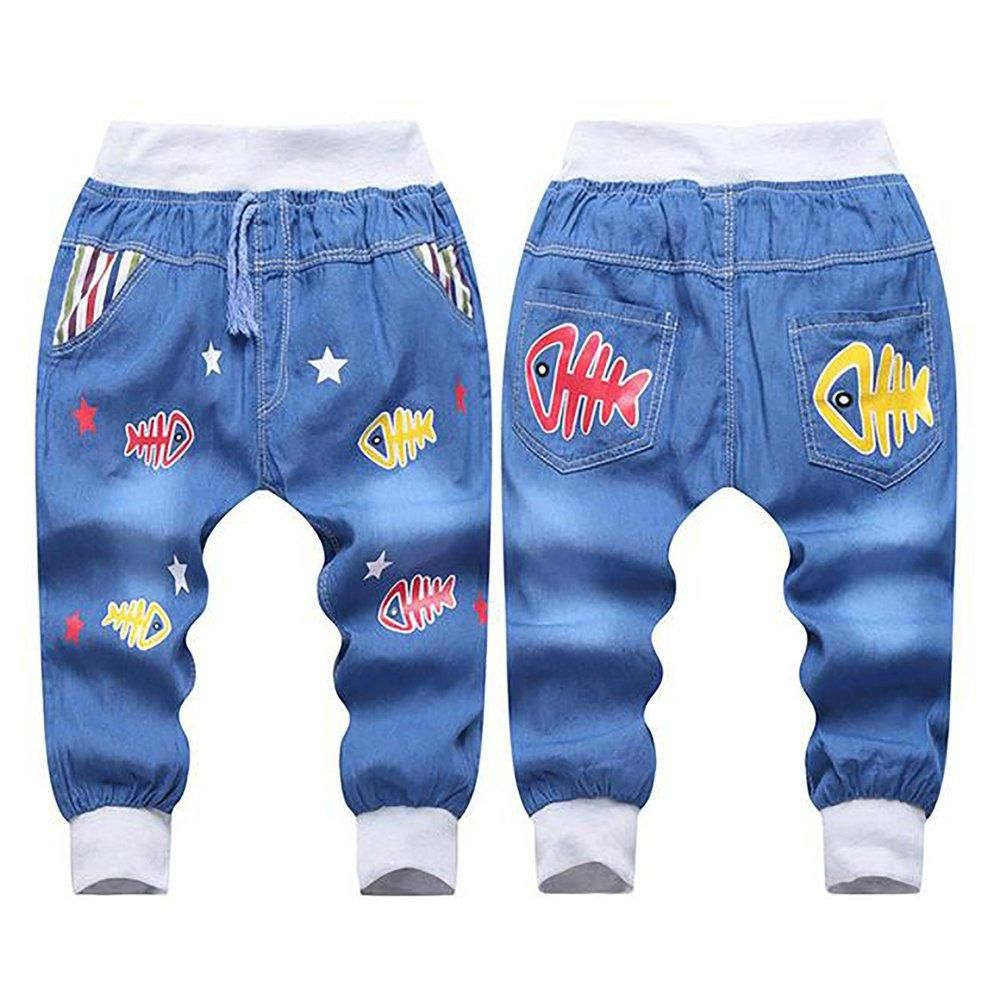 Kids Boys Girls Children Denim Monkey Bear Jeans Pants Bottoms Trousers